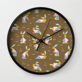 Tangram Bunnies M+M Nutmeg by Friztin Wall Clock