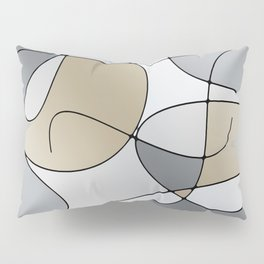 ABSTRACT CURVES #1 (Grays & Beiges) Pillow Sham