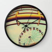 santa monica Wall Clocks featuring Santa Monica by Nikole Lynn Photography