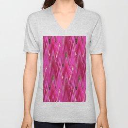 Zigzag Bright Pink Unisex V-Neck