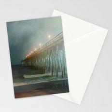 Kure Beach NC Fishing Pier at Night Painterly Stationery Cards