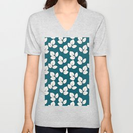 Small hand drawn black and white branch pattern on blue background Unisex V-Neck