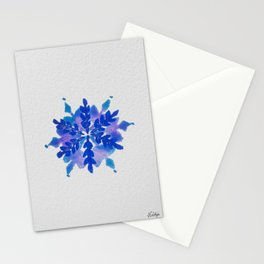 WATERCOLOR SNOWFLAKE 4 - blue and purple palette Stationery Cards