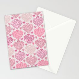 Pink Heart Valentine's Doilies Pattern Stationery Cards