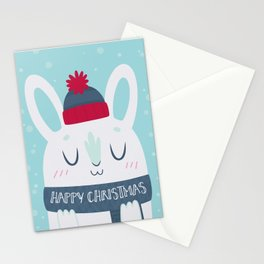 Cozy Winter Rabbit Christmas Card Stationery Cards