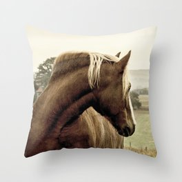 brown horse on the hill Throw Pillow