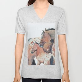 Mother's Love Appaloosa Horses Unisex V-Neck
