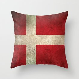 Old and Worn Distressed Vintage Flag of Denmark Throw Pillow