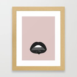 black dripping lips Framed Art Print