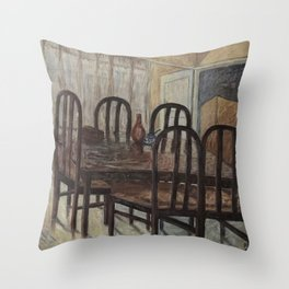 Still Life - Brown Dining Table in Morning Light - Oil on Canvas Throw Pillow