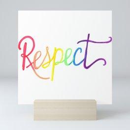 Respect in Watercolor Rainbow Gradient Mini Art Print