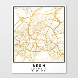 BERN SWITZERLAND CITY STREET MAP ART Canvas Print