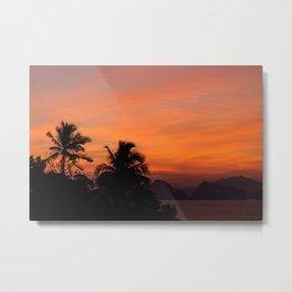 Sunset in Palm Paradise Metal Print