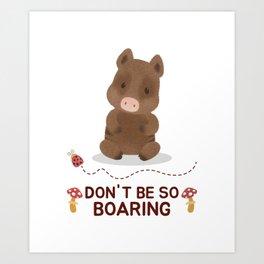 Cute wild boar vegetarian gift idea Art Print