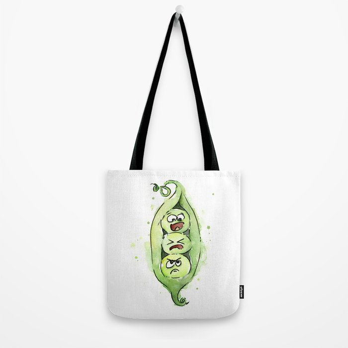 Peas in a Pod Funny Whimsical Siblings Watercolor Tote Bag