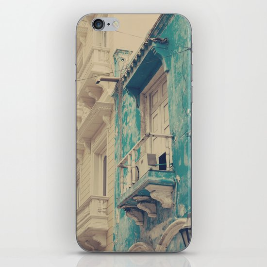 Grunge Summer Town (Retro and Vintage Urban, architecture photography, blue and cream) iPhone & iPod Skin