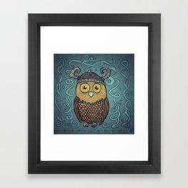 Brave Viking Owl Framed Art Print