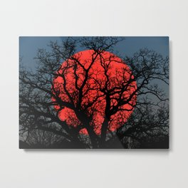 Tree Blood Moon Midnight Blue Sky Cottage Decor Art A474 Metal Print