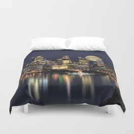 Moon Rise Over Pittsburgh Duvet Cover