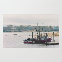 cape cod Area & Throw Rugs featuring Cape Cod Fishing Boat by ELIZABETH THOMAS Photography of Cape Cod