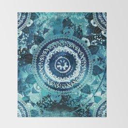 Teal Sea Mandala Throw Blanket