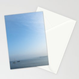 Fishing boats in Newquay bay just after Autumn Sunrise Stationery Cards