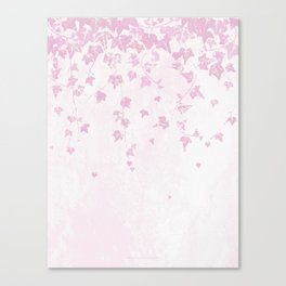 Pretty Soft Pink Trailing Ivy Leaf Print Canvas Print
