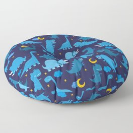 Dinosaurs At Night Blue Dinosaur Kids Pattern Floor Pillow