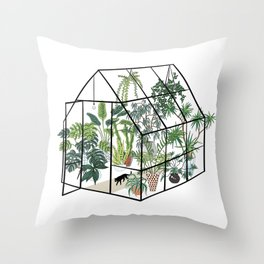 greenhouse with plants Throw Pillow