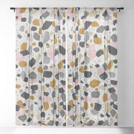 Terrazo brushstrokes Sheer Curtain
