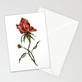 Loose Watercolor Rosebuds Stationery Cards