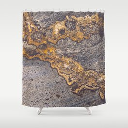 Gold Inlay Marble II Shower Curtain
