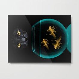 Black Cat Goldfish Metal Print