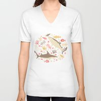 vector V-neck T-shirts featuring Oceanica by Anna Deegan