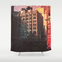 denver Shower Curtains featuring City of Denver, Colorado by Isaak_Rodriguez