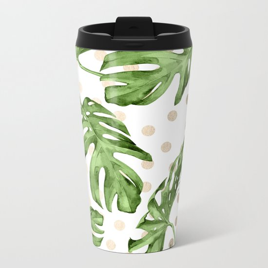 Simply Tropical White Gold Sands Dots and Palm Leaves Metal Travel Mug