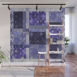 Lotus flower blue stitched patchwork - woodblock print style pattern Wall Mural