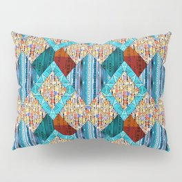 Red blue diamonds patchwork . Pillow Sham