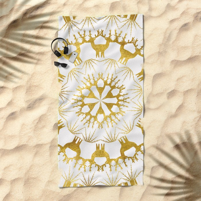 Gold Christmas 05 Beach Towel