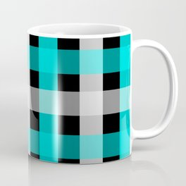 blue black checks Coffee Mug