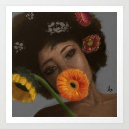 Sunflower Woman Art Print
