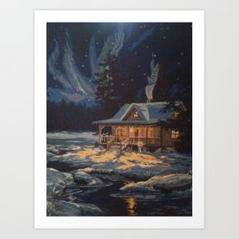 Blue Aurora Nights Art Print