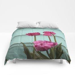 Tulips on Turqouise Comforters