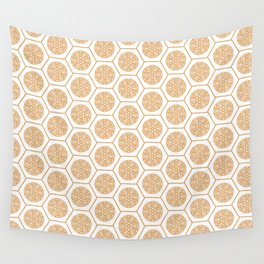Hex Pattern 72 - Mandarine Wall Tapestry