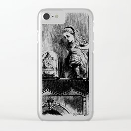 Alice climbing into the Looking Glass Land- John Tenniel Clear iPhone Case