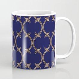 Gold Moroccan Lattice on Navy Coffee Mug