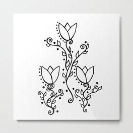 Three Tulips Doodle Art – Black and White Metal Print