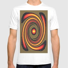 Spiral Fire in abstract White Mens Fitted Tee MEDIUM