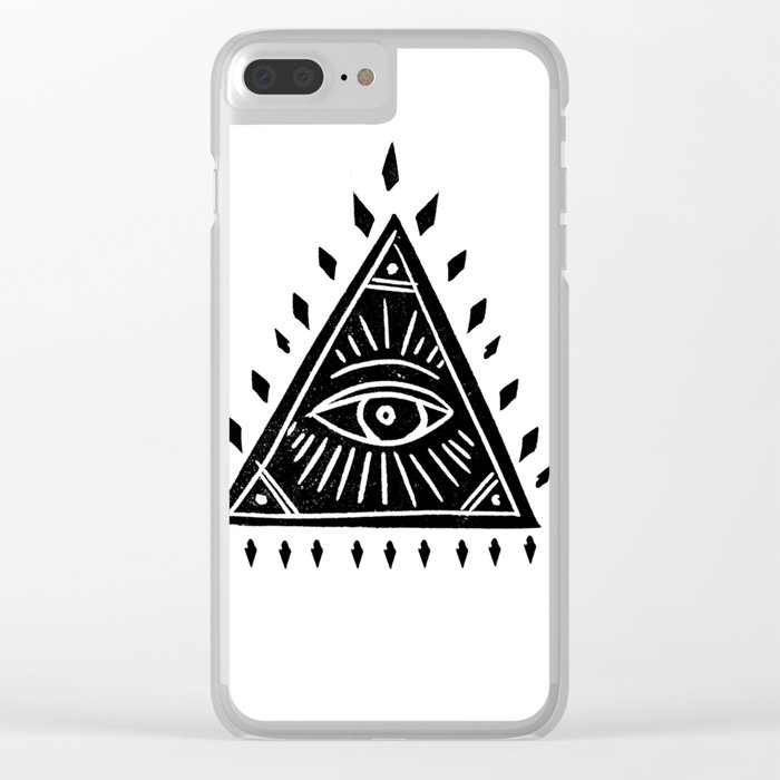 reputable site ffe16 29a60 Linocut Pyramid eye black and white symbology Clear iPhone Case