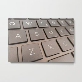 Close-up detail of a QWERTY keyboard of a laptop PC Metal Print
